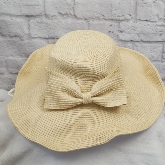 c62be0cbf3de7c unknown Accessories | Tan Floppy Sun Hat Bow And Chin Strap Large ...